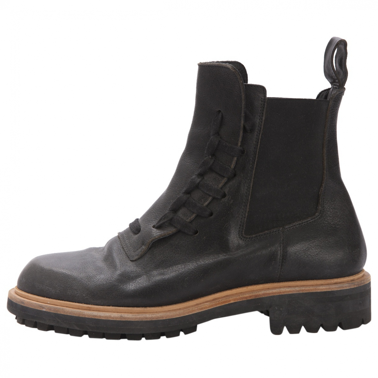 Anthracite Leather Boots by Kris Van Assche